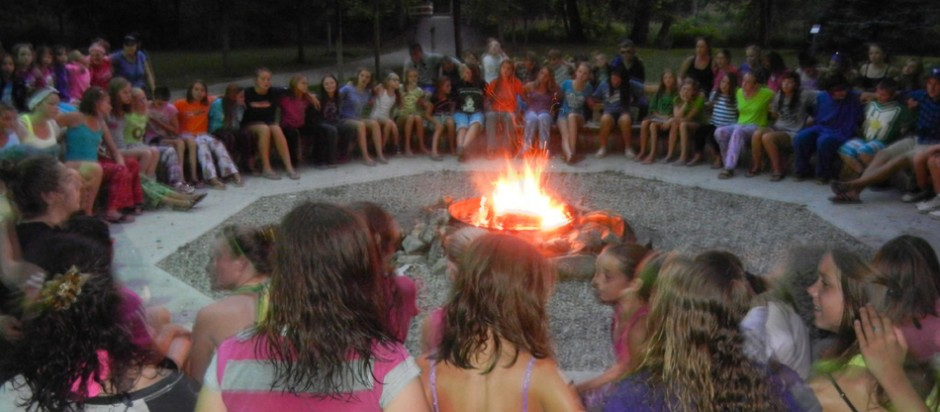 Camp Bimini campfire at summer camp